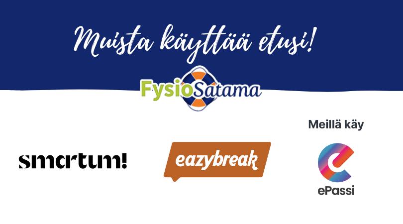 Meillä voit maksaa hoitosi Smartum-, Eazybreak- ja ePassi-eduilla – Myös etukäteen!